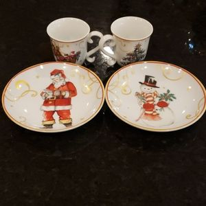 Small Christmas cups and saucers